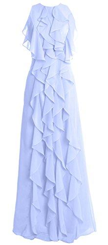 MACloth Women O Neck Long Bridesmaid Dress Chiffon Wedding Party Evening Gown Cielo azul
