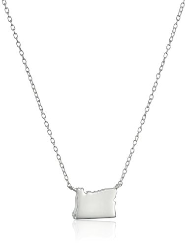 "Sterling Silver Stationed Mini State Oregon Pendant Necklace, 16""+2"" Extender"