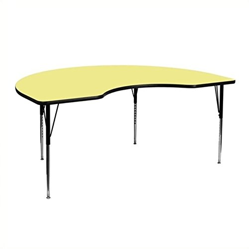 Bowery Hill 30.13''Hx72''W Kidney Shaped Activity Table in Yellow