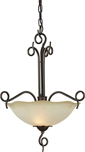 Forte Lighting 2463-02-32 2-Light Transitional Pendant, Antique Bronze Finish with Shaded Umber Glass