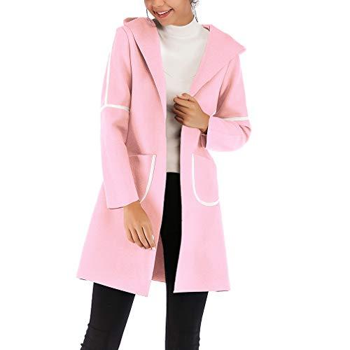 Manches Blouson Vogue Veste Poches Longues Rose Chaud Épais Bigood Manteaux À Capuche 6awBqX