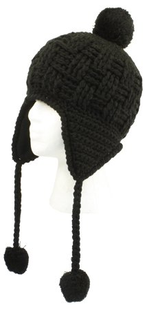 SK344 Black Handmade Chullo Fleece Lined Ski Napa Hat Trooper Trapper with Ear Flaps Winter Knit Beanie Mountaineering Skull Cap Women