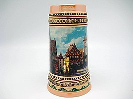 1 Liter Tankard Ceramic Beer Stein Mug Street Scene of Rothenburg ob der Tauber Germany Great German Gift or Beer Drinker Gift Idea