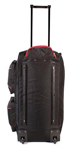 KS-100–27pulgadas, color negro y rojo Tamaño Grande con Ruedas Bolsa De Viaje Con Asa