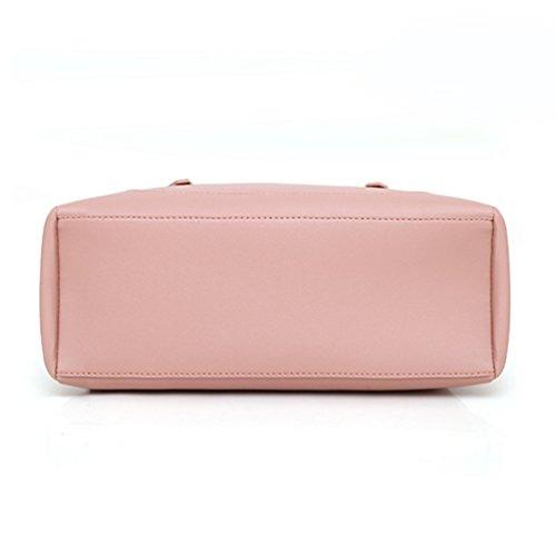 Mano Borsa Capacità 3 da a Pochette Anguang Pezzi Pelle Borse Multitasche PU Donna Pink Grande Tracolla 6xgqzqTwa