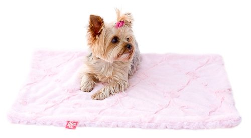 The Dog Squad 30 by 36-Inch Minkie Binkie Blanket, Medium, Pale Pink Roses