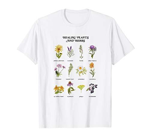 Healing Plants and Herbs Wild Flower Bohemian Garden T-Shirt (Herb Shirt)