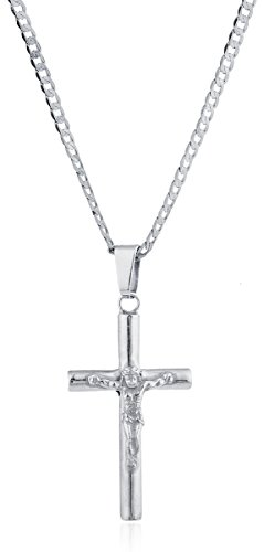 925 Sterling Silver Jesus Christ Crucifix Cross Pendant with a 24 Inch Round Cuban Chain Necklace (I-3987) - Round Sterling Silver Crucifix