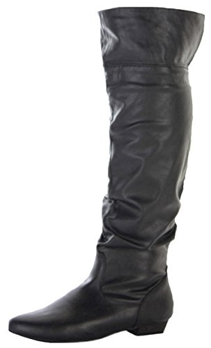 shoeFashionista Womens Ladies Flat Winter Biker Style Low Heel Mid Wide Calf Thigh High Leg Over Knee Boots Size Style D - Black Faux Leather