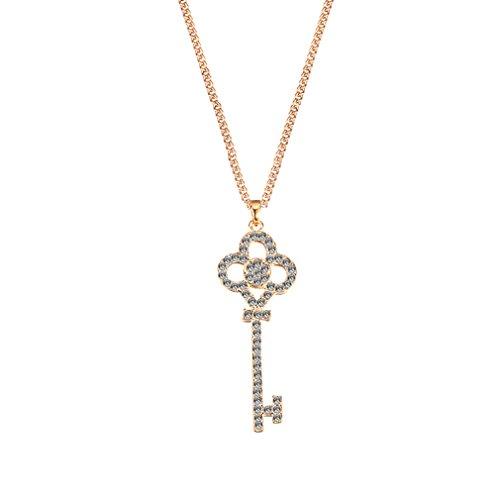 MBOX Fashion Crystal Rhinestone Gold Tone & Sliver Tone Pendant Necklace Keys (Gold ()