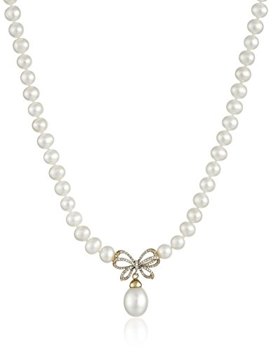 10k Yellow Gold Diamond Bow with Freshwater Cultured Pearl Drop Necklace, - Pearl Necklace Freshwater Drop Cultured