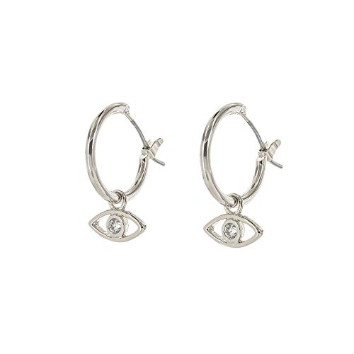 (Columbus Rhodium Dipped Huggie Hoop Earrings - Silver Tone Charm Hoop Earrings - Evil Eye Charm Earrings (Silver Evil Eye))
