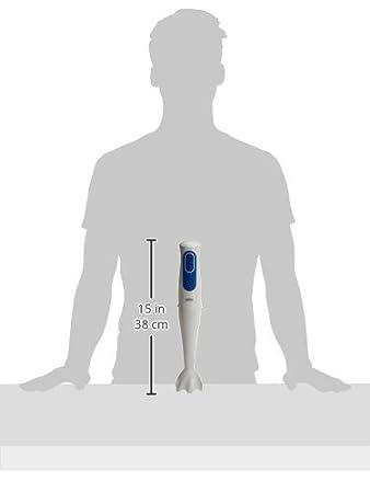 Braun Minipimer 3020 Batidora de mano, 2 velocidades, campana antisalpicaduras, 2 accesorios, 700 W, minipicadora 350 ml, vaso medidor 600 ml, blanco ...