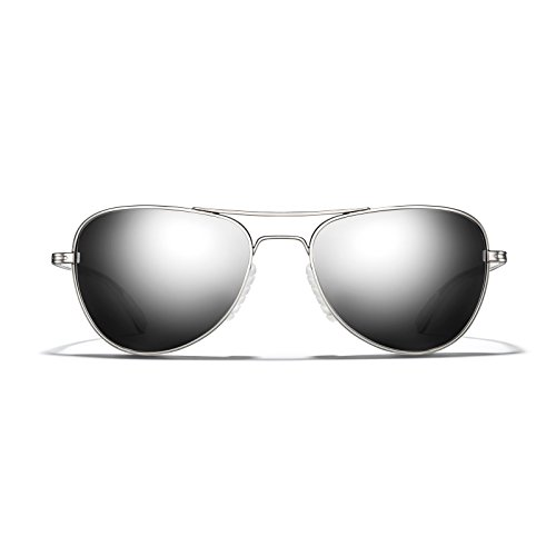ROKA Rio Alloy Sports Performance Aviator Non-Polarized Sunglasses for Men and Women - Silver Frame - Dark Arctic Mirror - Alloy Sunglasses