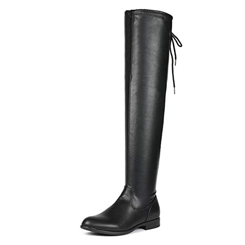 DREAM PAIRS Women's OVERIDE Black PU Low Heel Thigh High Over The Knee Flat Boots Size 5 B(M) US
