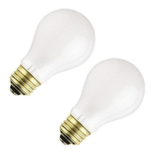100w 130v A19 Medium Base ((Pack of 2) Bulbrite 107200, 100A/RS, 100W Frost Rough Service, A19, 2700K, Incandescent Light Bulb)