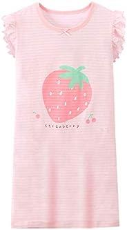 AOSKERA Girls' Strawberry Nightgowns 100% Cotton Sleepwear Princess Style for