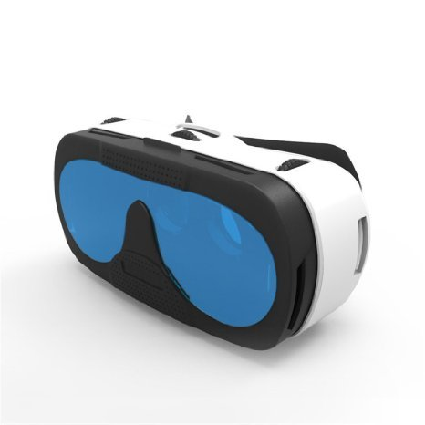 CYBERDEX VR 3D Glasses Virtual Reality Head Mount Within K9 Blue Glass Lens For 3.5-6 inches Smartphone -Blue
