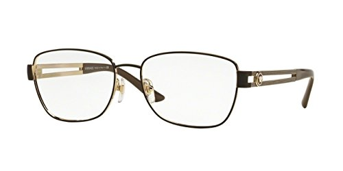 Versace Women's VE1234 Eyeglasses Pale Gold / Matte Brown - Lenses Versace