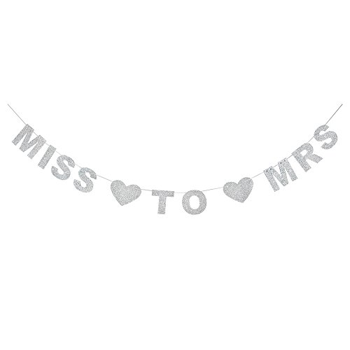 MISS TO MRS Silver Glitter Banner With Heart-Shaped Detail,Bachelorette,Bridal Shower,Engagement,Wedding Shower Party Photo Props.