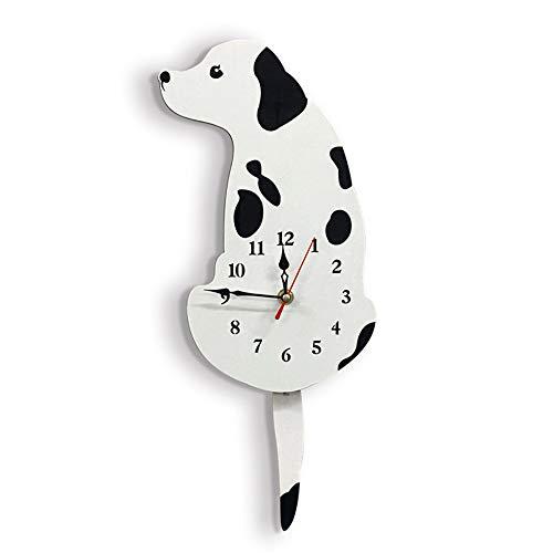 HURDKJ Wall Clock Creative Cartoon Silent Black White Acrylic,Fashion Dog Wag Tail Home Decoraton Wall Clock,Home/Office/School Clock,Easy to Read,White