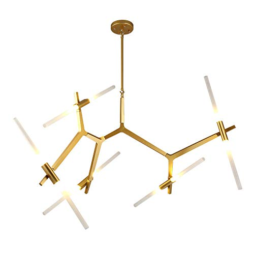 LUOLAX Modern Metal Chandelier Light Glass Tree Branch Pendant Lamp Ceiling Fixtures Decor for Living Room/Dining Room/Coffee Shop Lighting (Gold 10-Light) ()