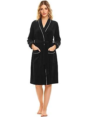 Ekouaer Womens Bathrobes Soft Kimono Long Sleeve Bath Robes Spa Robe Sleepwear pajamas