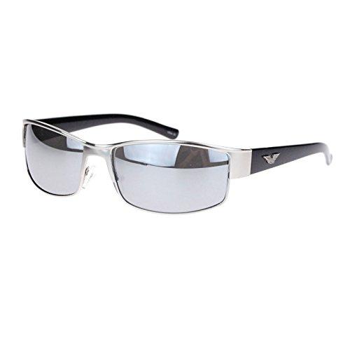 Mens Metal Designer Fashion Narrow Rectangular Luxury Agent Sunglasses Silver - Sunglasses Cia