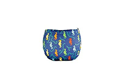 TotsBots Swims - Reusable Washable Baby and Toddler Swim Diaper (Wee Seahorses, Size 1 9-20lbs)