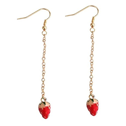 18K Gold Plated Fruit Red Strawberry Ear Wire Charm Women Long Dangle Drop Earring