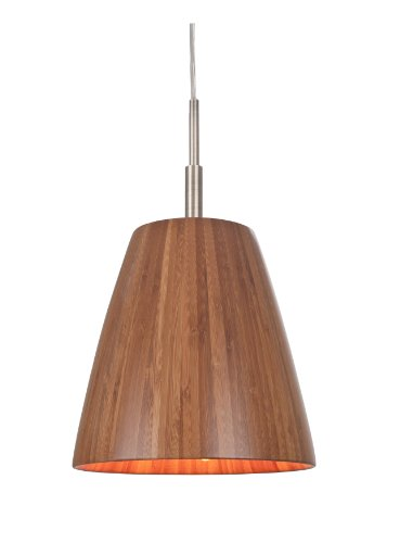 Woodbridge Lighting 14023STNWL-W2A1BB Bamboo Mini Pendant, Satin Nickel Hardware