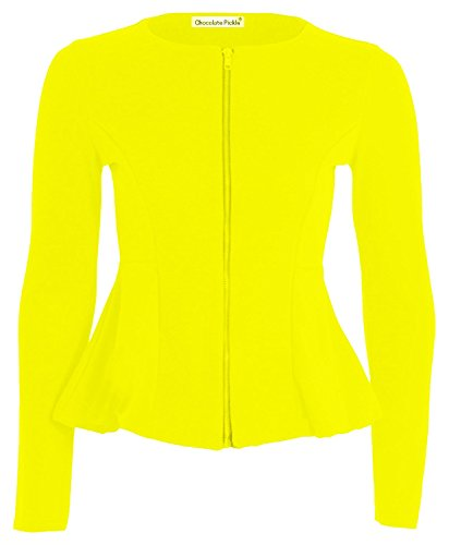 longues Yellow Taille Blazer 38 Pickle Peplum Full plus Femmes Chocolate Skater Zip Jacket manches taille 52 volants waqxXxpF