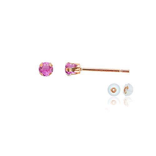Genuine 10K Solid Rose Gold 3mm Round Created Pink Sapphire Birthstone Stud Earrings - Genuine Pink Sapphire Earrings
