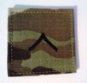 (U.S. Army E-2 Private OCP Regulation Rank Patch W/Fastener Made in USA by HighQ Store)
