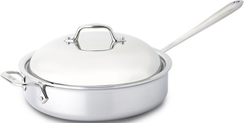 All-Clad 44048 Stainless Steel 3-Ply Bonded Dishwasher Safe Saute Pan with Domed Lid Cookware, 4-Quart, Silver by All-Clad