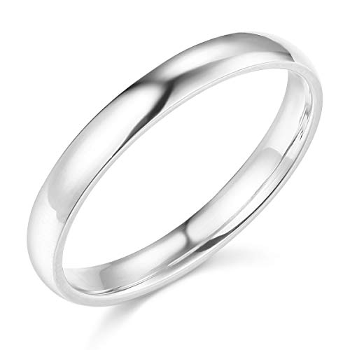 Wellingsale Ladies 14k White Gold Solid 3mm COMFORT FIT Traditional Wedding Band Ring - Size 6