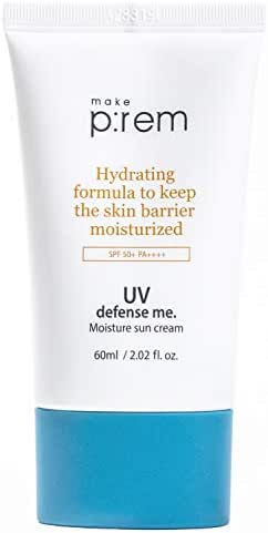 MAKEP:REM UV Defense Me. Moisture Sun Cream SPF 50+ PA++++ 60ml 2.02 Fl Oz UV Clear Physical and Chemical Hybrid Sunscreen, 88% Hydrating Ingredients, Makeup Sunscreen Dry-Touch Non-Greasy Makeprem