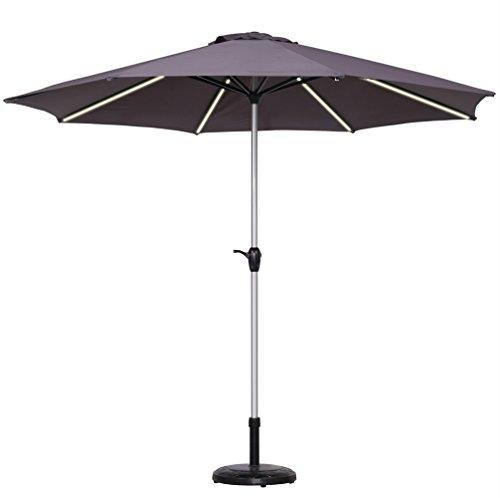 Le Papillon 9-Feet Outdoor Umbrella Light Strip Market Patio Umbrella with Crank, Gray by Le Papillon