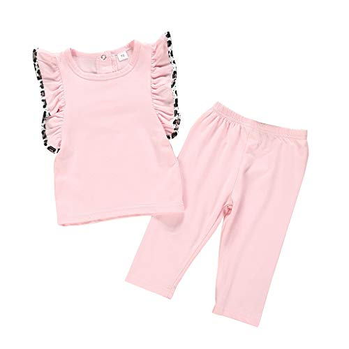 GOVOW Summer Infant Baby 2019 Girls Sleeveless Frill Solid Tops + Solid Pants Outfit Pink]()