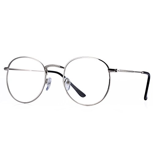 Pro Acme Classic Round Metal Clear Lens Glasses Frame Unisex Circle Eyeglasses - Silver Glasses Men