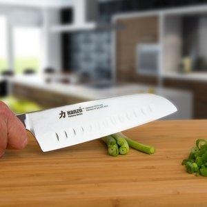 "HANZO Santoku Professional Chef Knife - 7"" inch Katana Series VG10 67 layered Japanese Steel - Superior Edge Retention and Handling - G10 Military Grade Custom Contoured Handle"