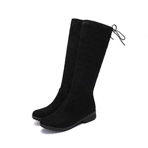 Top Strap 1TO9 Light Boots Heeled Womens Weight Resistant Boots Round MNS02438 Urethane Toe Not Water Black High Lining No Adjustable Warm Closure 0wwatqr