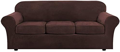 H.VERSAILTEX Modern Velvet Plush 4 Piece High Stretch Sofa Slipcover Strap Sofa Cover Furniture Protector Form Fit Luxury Thick Velvet Sofa Cover for three Cushion Couch, Machine Washable(Sofa,Brown)