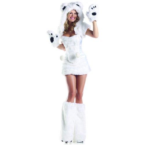 Be Wicked Costumes Women's Polar AR Costume, White, (Sexy Goldilocks Costumes)