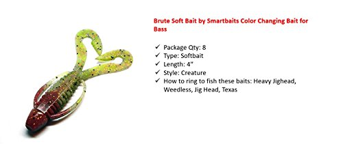 Bait Soft (Smartbaits Brute Soft Bait Color Changing Bait for Bass)