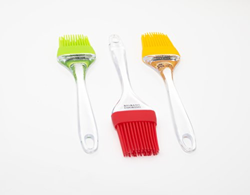 Pastry Brush Parent 2 TOP QUALITY BRUSH: Our Hardened clear plastic brushes will not melt, warp, discolor, or shrink like regular silicone or wooden brushes. The brushes can WITHSTAND HOT AND COLD TEMPERATURES AS WELL AS DROPS, making them perfect for use in the kitchen or BBQ. Perfect for non-stick pans as the High Temp bristles will not melt, break or shed into your food! The lightweight handle provides a soft comfortable firm grip making basting easy. (Max Temp 450F) LITTLE BALLS HOLDING MORE SAUCE: The bristle tips are equipped with hemispheres that allow it to be used to baste any type of food you want, and hold up to 30% MORE SAUCE than traditional brushes! Not only do the brushes hold more sauce but are also EXTREMELY EASY TO CLEAN, as the Brush heads can be removed and the brushes can be easily cleaned by hand, or dishwasher. 100% FOOD GRADE: This basting brush is BPA-free and made from 100% food grade materials. Cook easily and carefree knowing that this brush is toxin free and WILL NOT STAIN OR SMELL! Made fully with food grade materials so you know you are using a sanitary and safe product.