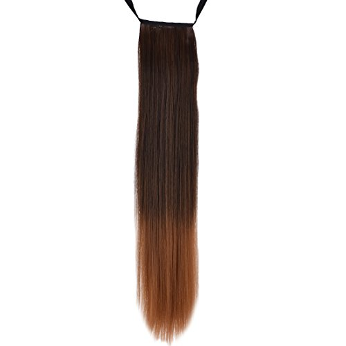 WeKen Women's Hair Ponytail Drawstring 2 Tones Ombre Long Straight Synthetic Dark Brown to Light (Two Tone Drawstring)