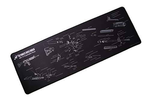 Ultimate Gun Cleaning Mat with Exploded Parts Diagram, Stitched Edges and Non-Slip Backing; Large 12″x36″ Size for Rifle Shotgun Pistol Cleaning