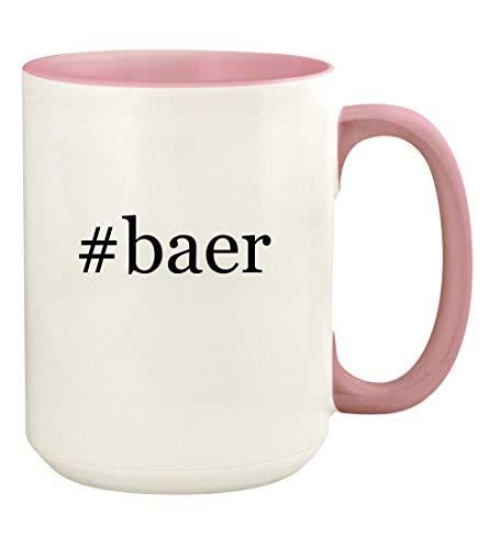 #baer - 15oz Hashtag Ceramic Colored Handle and Inside Coffee Mug Cup, Pink ()