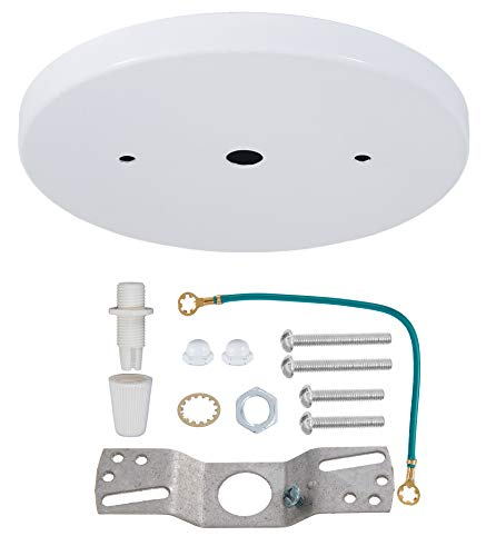 B&P Lamp 5 1/4 Inch Modern Shallow Steel Canopy Kit (White)